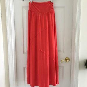 Joe B long maxi skirt orange summer outfit - large